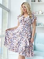 0c345d90ca2 Воздушное платье сарафан летнее ниже колен с волами с запахом и рюшами для  полных больших размеров