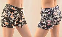 Шорты женские трикотажные короткие с цветочным узором и карманами на молнии от M до 3XL  (Венгрия) Коричневый, M