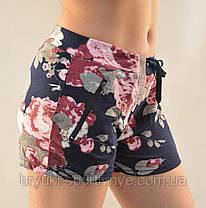 Шорты женские трикотажные короткие с цветочным узором и карманами на молнии от M до 3XL  - Хризантема, фото 2