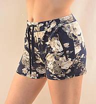 Шорты женские трикотажные короткие с цветочным узором и карманами на молнии от M до 3XL  - Хризантема, фото 3