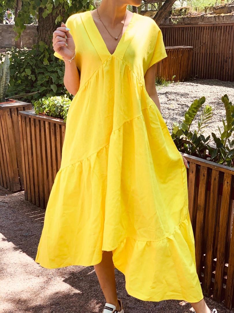 Стильное льняное женское платье