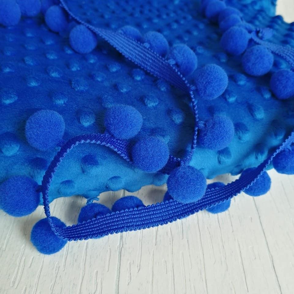 Тесьма с помпонами синяя 2 см