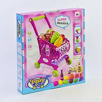 Детская розовая тележка супермаркет с продуктами