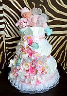 Торт з памперсів в пологовий будинок з лялькою феєю Anne Geddes 100 шт.
