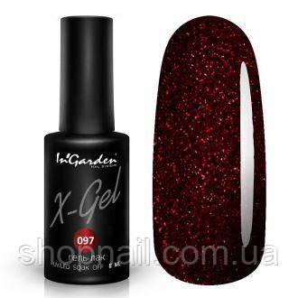 Гель лак INGARDEN X-GEL (Блестящий бордово-коричневый) № 097, 8 мл