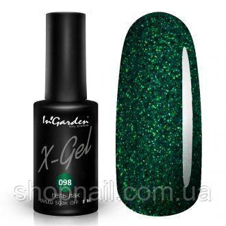 Гель лак INGARDEN X-GEL (Блестящий зеленый) № 098, 8 мл