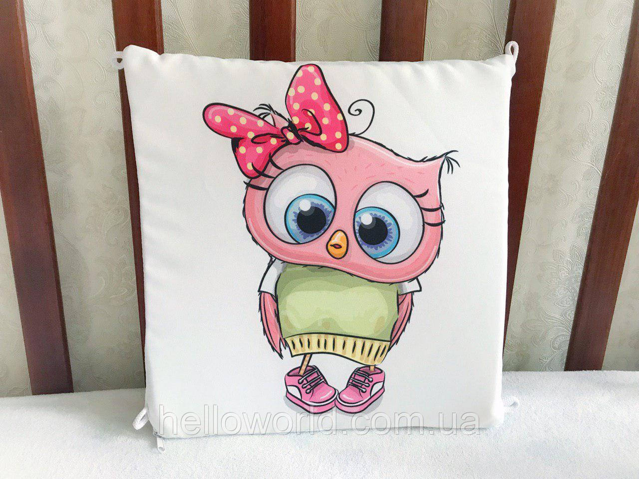 Бортик Розовая сова с бантом в горошек