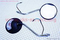 """Мотозеркала комплект круглые-черные """"Delta"""" с поворотами на """"хром"""" ножке, м10"""
