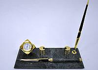 Мраморный письменный набор с золотыми кубическими часами, визитной картой и ножом для резки бумаги 1 ручка