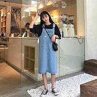 Женский модный удлиненный джинсовый сарафан  цвет голубой размер S-42