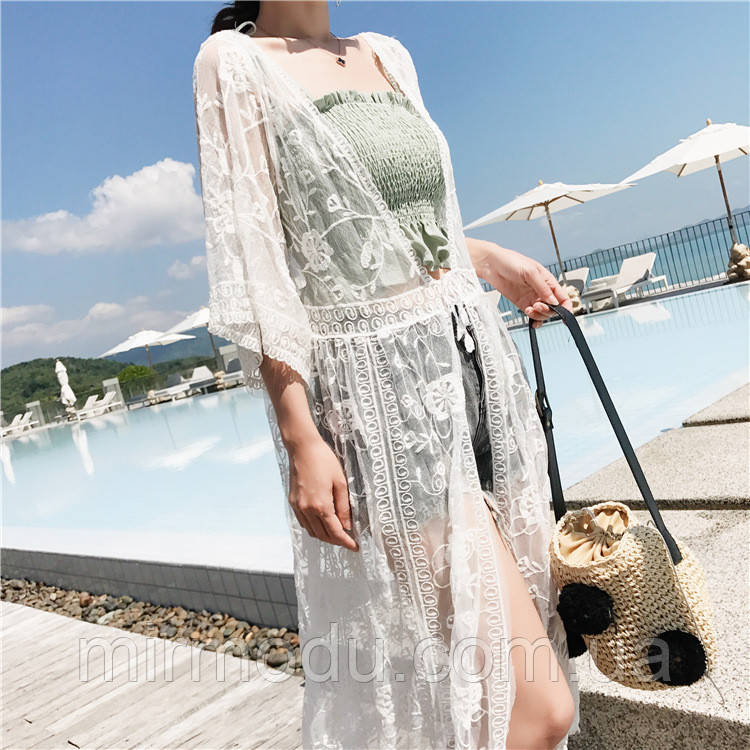 Пляжное белое платье длинное AL-9138-15