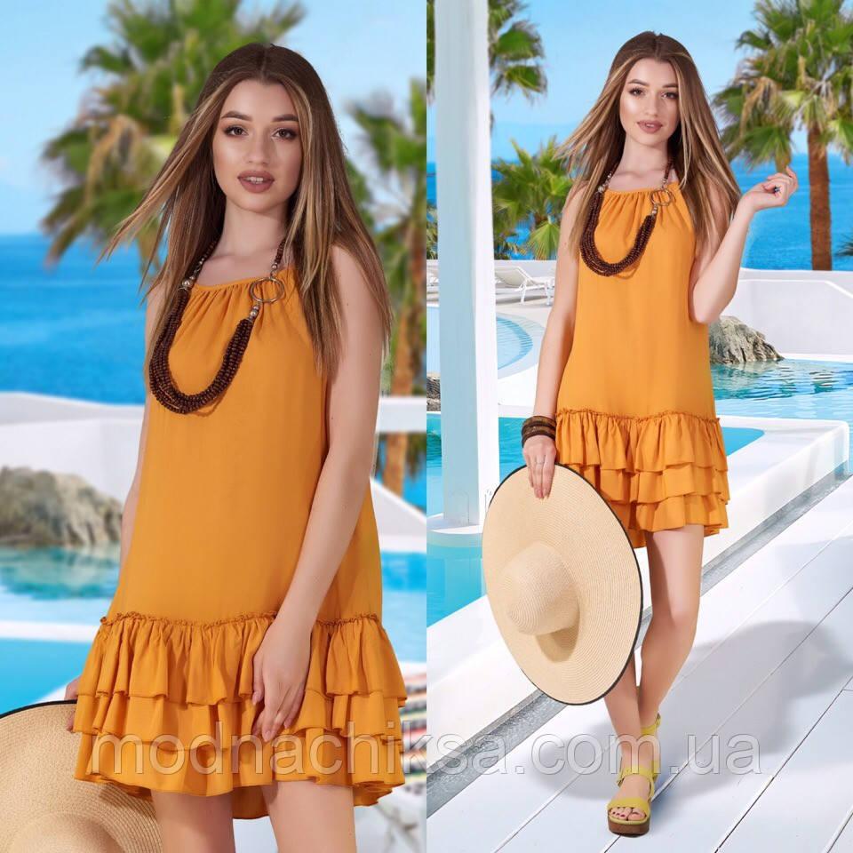 Летнее нарядное платье с оборками