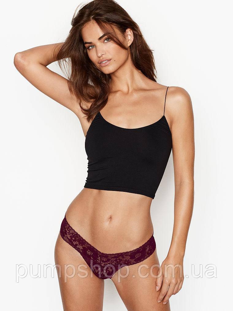 Мереживні трусики стрінги Victoria's Secret THE LACIE Lace Floral Thong Panty оригінал L