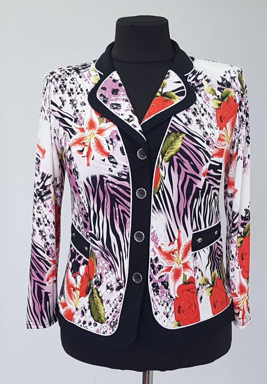 Стильный женский пиджак-блуза  больших размеров на пуговицах