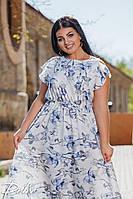 Женское батальное макси платье  с цветами