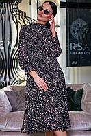✔️ Женское платье с юбкой солнце-клёш плиссе 40-50 размера черное