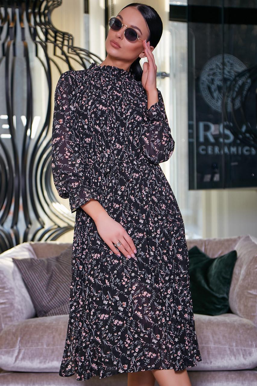 08157641b874 ✔️ Женское платье с юбкой солнце-клёш плиссе 40-50 размера черное ...
