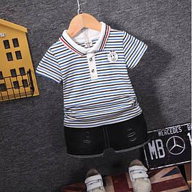 Літній костюм на хлопчика футбока +шорти 1-3 роки смужка