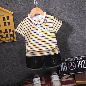 Літній костюм на хлопчика футбока +шорти 1-4 роки смужка