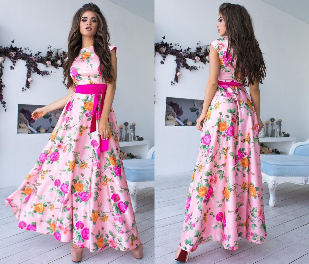 """Елегантне довге жіноче плаття 1076 """"Шовк Троянди Максі"""" в кольорах"""