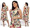 Сукня жіноча з софта в квітковій гамі (3 кольори) - Бежевий SD/-662/1