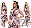 Платье женское из софта в цветочной гамме (3 цвета) - Пудра SD/-662/1