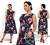 Платье женское из софта в цветочной гамме (3 цвета) - Темно-синий SD/-662/1