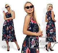 Облегченное женское платье в цветочной гамме (3 цвета) - Темно-синий SD/-662, фото 1