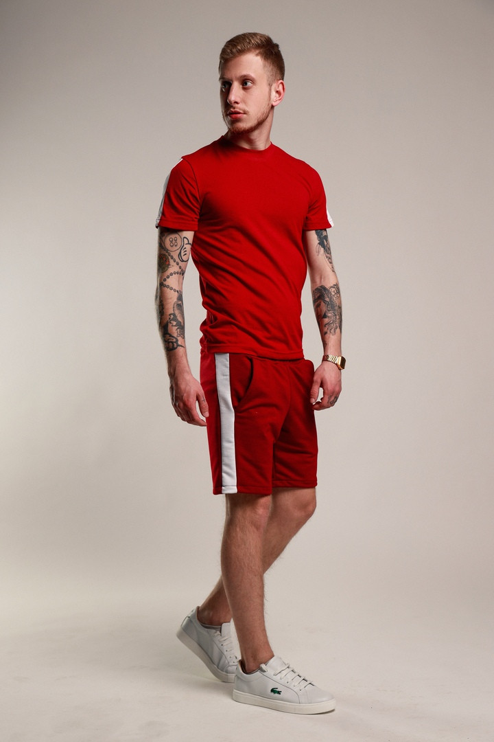 Мужской летний комплект шорты и футболка мужская красный с белым. Живое фото