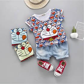 Літній костюм на хлопчика футбока +шорти 1-4 роки з малюнком Котик біло-синій