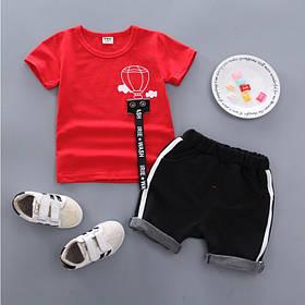 Літній костюм на хлопчика футбока +шорти 1-4 роки з малюнком Куля червоно-чорний