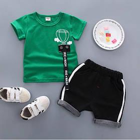 Літній костюм на хлопчика футбока +шорти 1-4 роки з малюнком Куля зелено-чорний