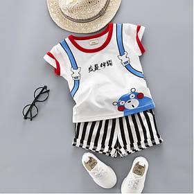 Літній костюм на хлопчика футбока +шорти 1-4 роки з малюнком білий