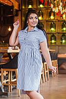 Стильное летнее батальное платье-рубашка с поясом в комплекте
