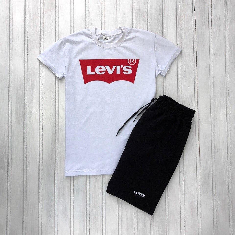 Мужской летний комплект шорты и футболка мужская Levis белый с черным. Живое фото