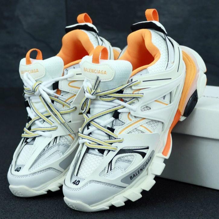 3c041434 Мужские кроссовки Balenciaga Track, Баленсиага Трек белые с оранжевым /  Реплика 1:1 Оригинал