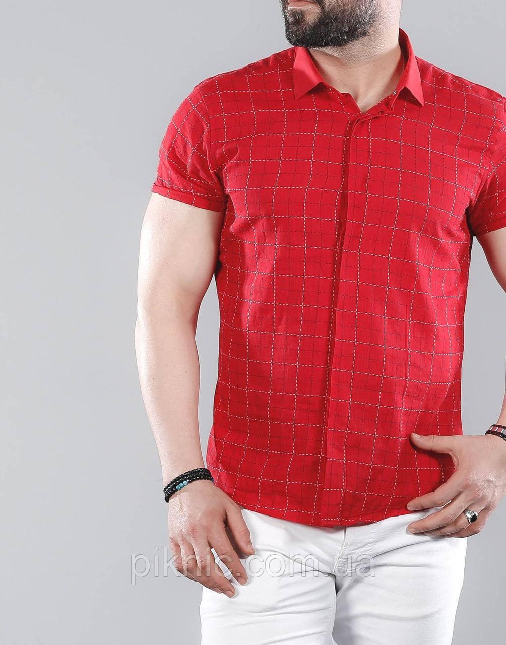 Рубашка мужская приталенная, короткий рукав. Льняная турецкая рубашка с коротким рукавом. Красная