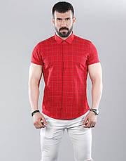 Рубашка мужская приталенная, короткий рукав. Льняная турецкая рубашка с коротким рукавом. Красная, фото 3