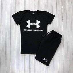 Мужской летний комплект шорты и футболка мужская Under Armour черный. Живое фото