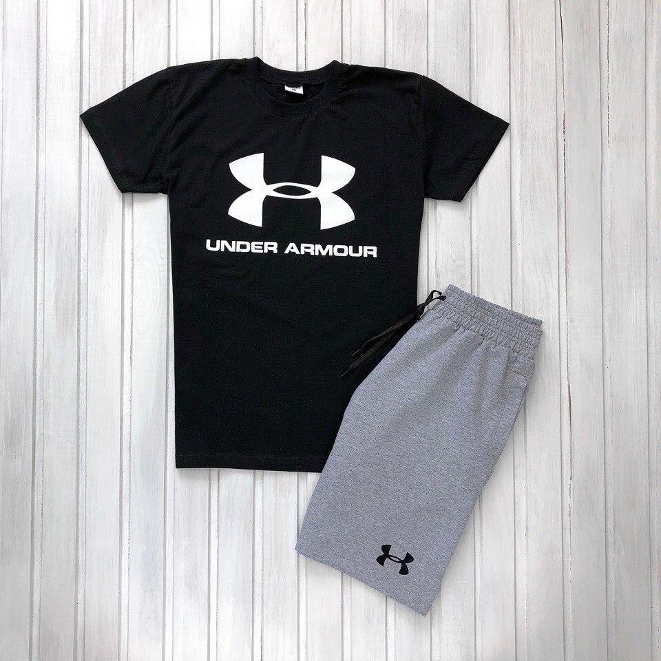 Мужской летний комплект шорты и футболка мужская Under Armour черный с серым. Живое фото