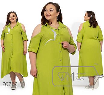 Платье с вырезами на плечах супер-батал, салатовый