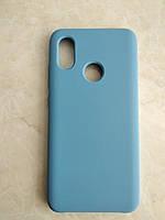 Original Silicone Case для Xiaomi Mi 8. Силиконовый чехол с микрофиброй для сяоми ми 8 синий