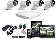 Комплект видеонаблюдения Dahua - 1МП камеры Hikvision 4 шт.(наружные, металл)