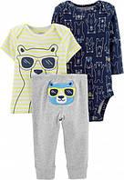 Комплект тройка Картерс ( Carter's) для мальчика синий, серый