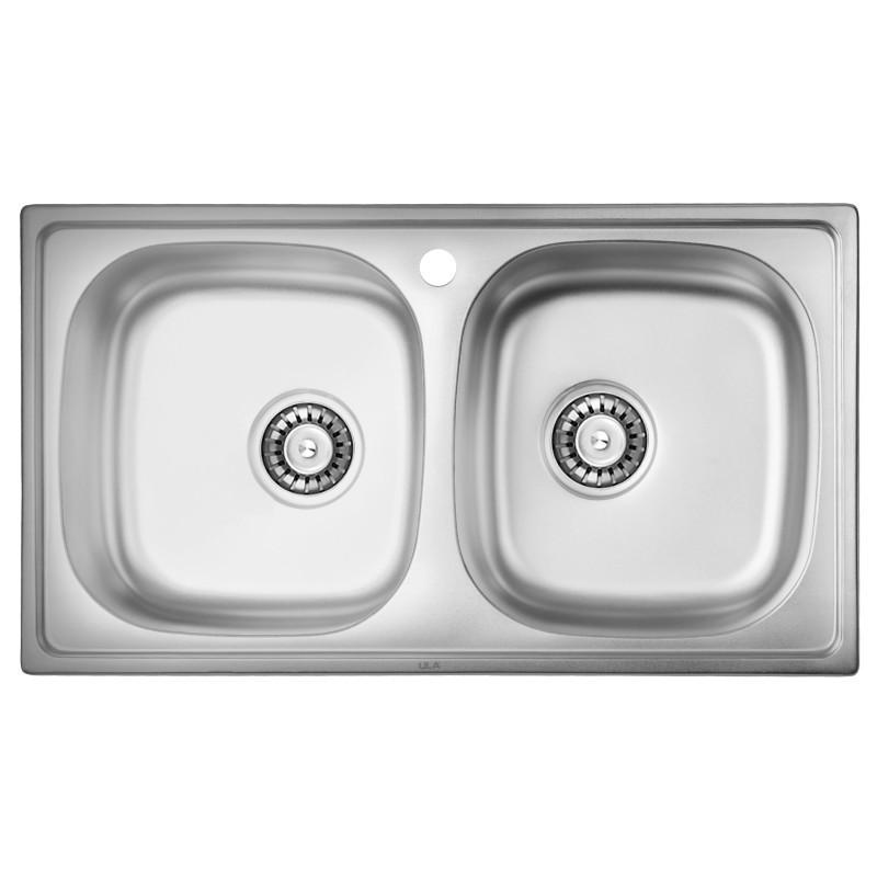 Врезная мойка для кухни из нержавеющей стали ULA 5104 ZS Micro Decor 08 (7843 ) двойная