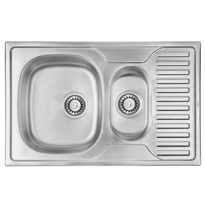 Врезная мойка для кухни из нержавеющей стали ULA 7301 ZS Polish 08 ( 7850 ) двойная
