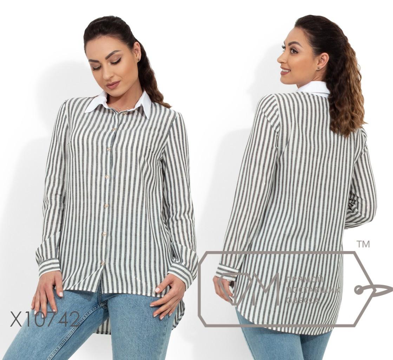 Льняная рубашка в полоску, серый