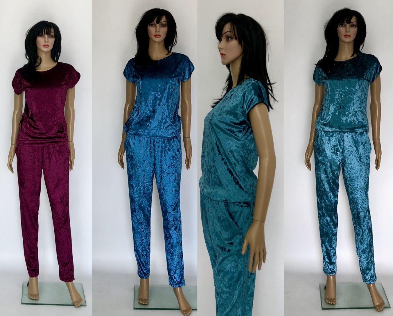 Бархатный мрамор костюм футболка и брюки
