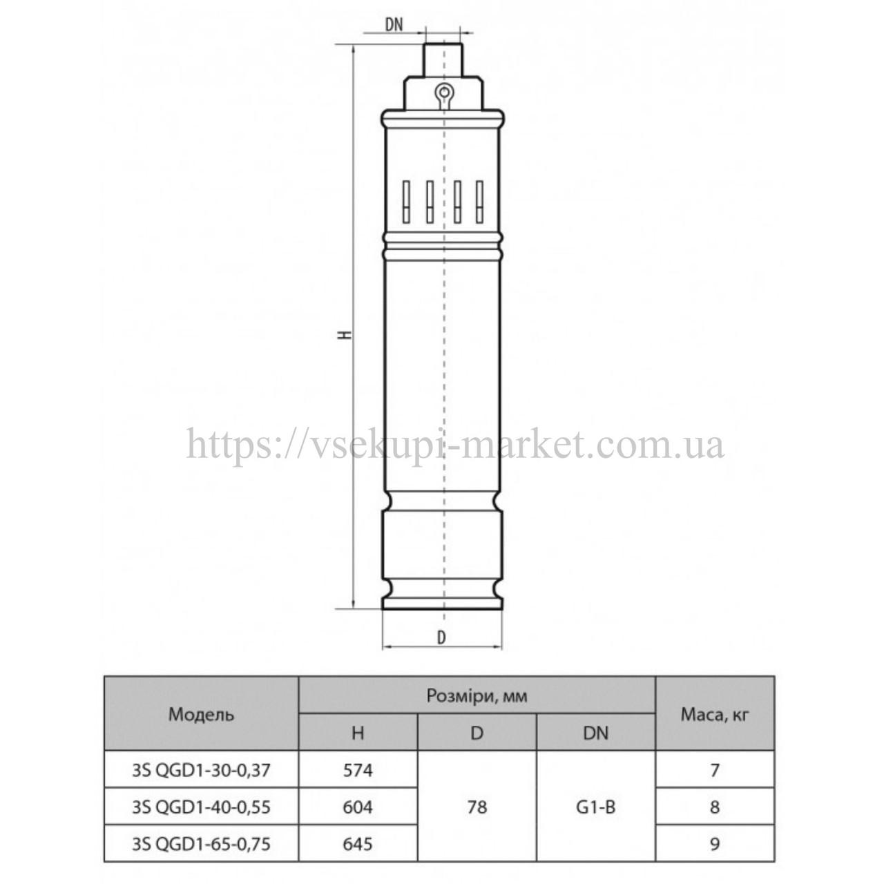 Скважинный насос SPRUT 3S QGD 1-40-0,55