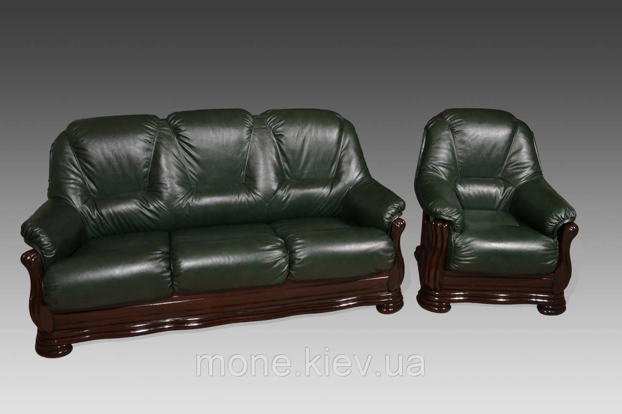 """Класичний комплект шкіряних меблів диван з розкладкою і крісло (3+1)""""Жаклін"""""""